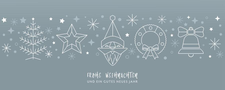 Weihnachtskarte Deko silber - Weihnachtsmann, Weihnachtsbaum Kranz, Stern und Glocke