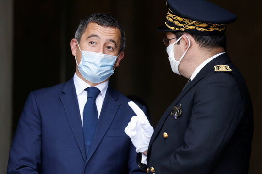 French Interior Minister Gerald Darmanin speaks with Seine-Saint-Denis' prefect Georges-Francois Leclerc ahead of a visit of the French President Emmanuel Macron about the fight against separatism at the Seine-Saint-Denis prefecture headquarters in Bobigny