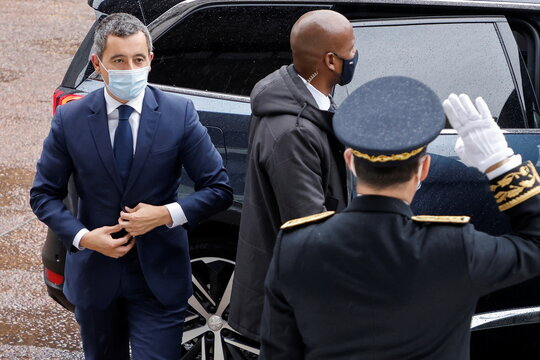 French Interior Minister Gerald Darmanin arrives ahead of a visit of the French President Emmanuel Macron about the fight against separatism at the Seine-Saint-Denis prefecture headquarters in Bobigny