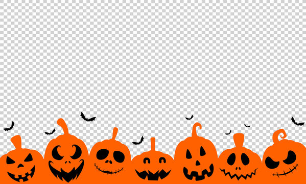 Halloween party banner  with scary pumpkin face , bats flying isolated on png or transparent background, space for text, sale template ,website, poster,  vector