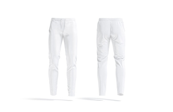 Blank white sport pants mockup, front and back view