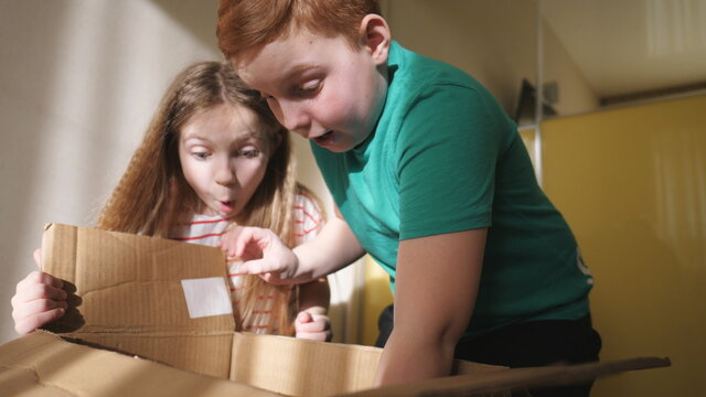 Happy little sister and brother opening cardboard box and pulling out gift from it while at room. Amazed small girl and boy showing joy and surprise on their faces. Cute children enjoying to present