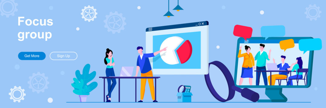 Focus group landing page with people characters. Collective discussion and feedbacks web banner. Market research method vector illustration. Flat concept great for social media promotional materials.