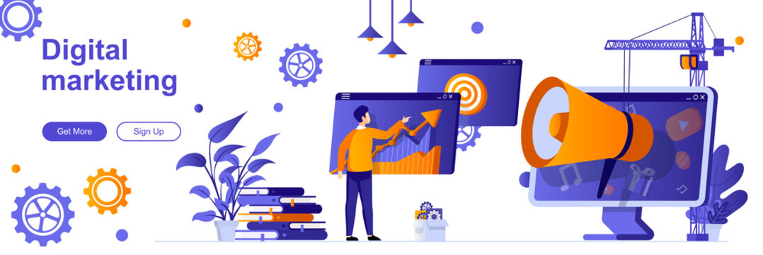 Digital marketing landing page with people. Social media and web content promotion web banner. SMM and SEO technology vector illustration. Flat concept great for social media promotional materials.