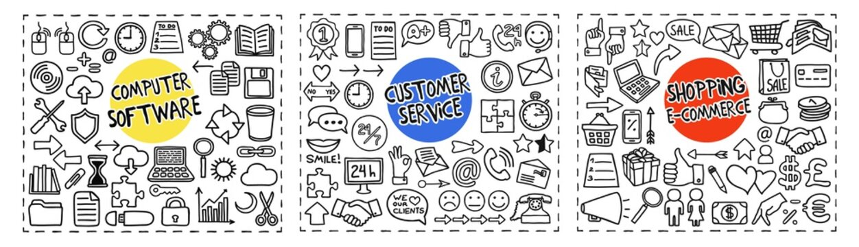 Computer Software, Customer Service and Shopping doodle icons set