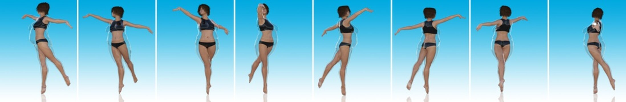 Conceptual fat overweight obese female vs slim fit healthy body after weight loss or diet with muscles thin young woman on blue. Fitness, nutrition or fatness obesity, health shape 3D illustration