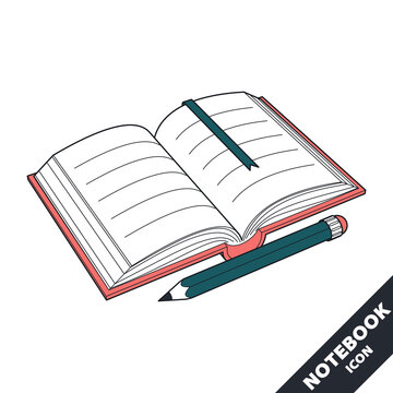 Open notebook and pencil 3D vector icon in flat style.