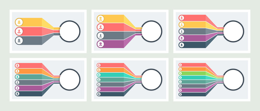 Business infographic. Chart with 3, 4, 5, 6, 7, 8 options. Vector template.