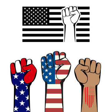 Protest sign and symbol on white. American flag and fists isolated.