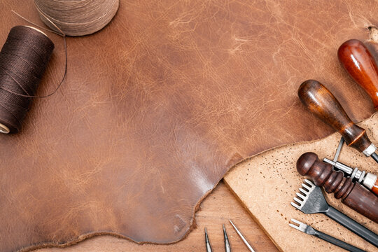 brown leather for leather working