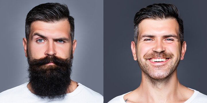 Bearded man with long beard and mustache or handsome hipster in barbershop. Shaved vs unshaven Barber hair salon. Before and after.