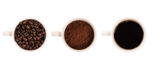 Top view, Coffee cup assortment collection ,roasted grains and ground coffee isolated on white background.