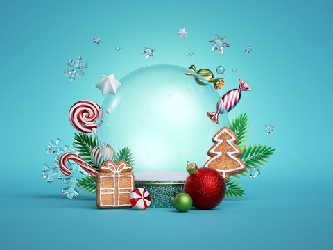 3d render, Christmas blue background with translucent glass ball, decorated with fir twigs, gingerbread cookies, balls, ornaments and candies