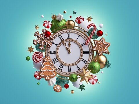 3d render, Christmas clock shows five minutes before the midnight. Assortment ornaments: gingerbread cookies, caramel candies, candy cane, glass balls. Festive clip art isolated on blue background