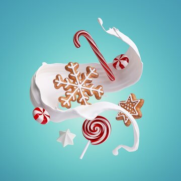 3d rendering of milk splash, gingerbread cookies and caramel candies isolated on blue background. White splashing liquid wave and sweets levitate. Christmas food illustration