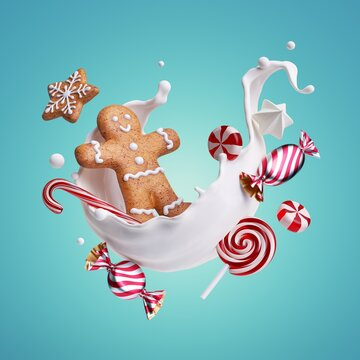 3d render, gingerbread man, assorted cookies and caramel candies levitate inside the milk splash, isolated on blue background. White splashing liquid wave and treats. Christmas food illustration