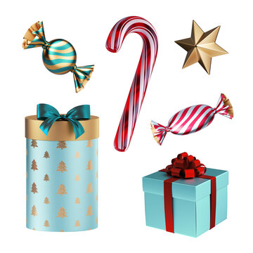 3d render, Christmas design elements: caramel candy cane, golden star, gift boxes, wrapped sweets. Holiday clip art collection isolated on white background