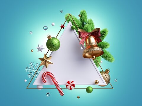 3d render, Christmas card with triangular frame decorated with golden bell, candy cane spruce twigs, crystal snowflakes, gold stars and festive ornaments. Blank mockup, isolated on blue background