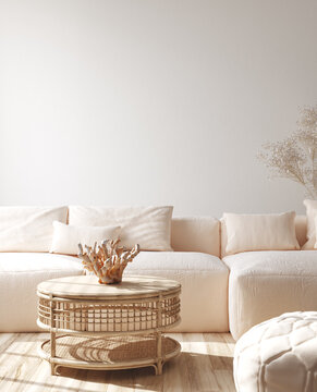 Modern living room interior with stylish sofa, coral on rattan table, 3d render