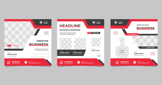Live webinar social media post template. Vector graphic of collection minimalist background