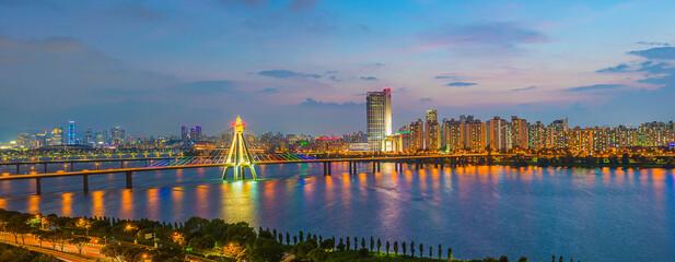twilight of Seoul city South Korea. best view at Han River and  bridge