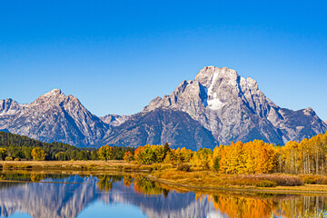 Autumn color in Grand Teton National Park reflected in the lake