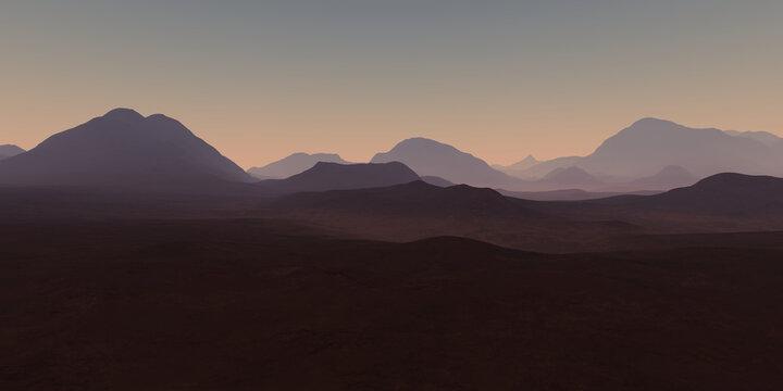 Alien desert planetary landscape