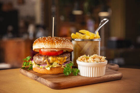 Juicy burger with tomato