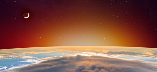 Wall Mural - Planet Earth with spectacular sunset, crescent moon in the background