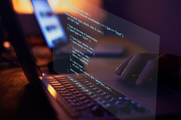 Programming code writing, software coding developing, hands typing computer script..