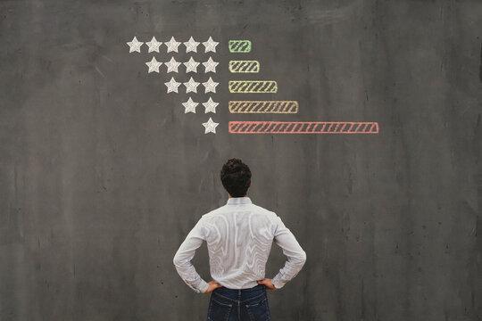 negative reviews on internet, business man handling  bad rating of company online