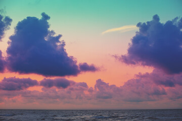 Seascape in the evening. Sunset over the sea with beautiful sky