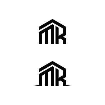m r mr initial building logo design vector graphic idea creative