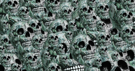 light blue background of human skulls