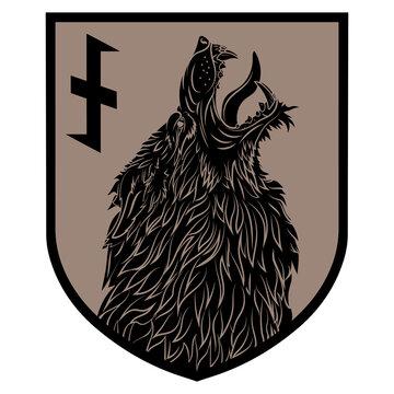 Design patch. Heraldic shield with a Werewolf and rune Wolfsangel
