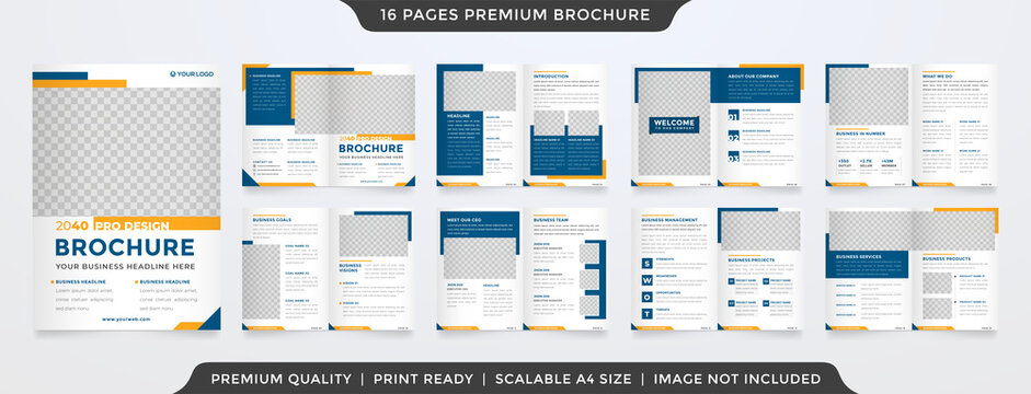 minimalist business bifold brochure template premium style with modern style and clean concept use for business proposal and business profile