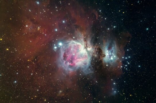 The Great Nebula (M42) in the constellation of Orion , hanging from Orions belt.