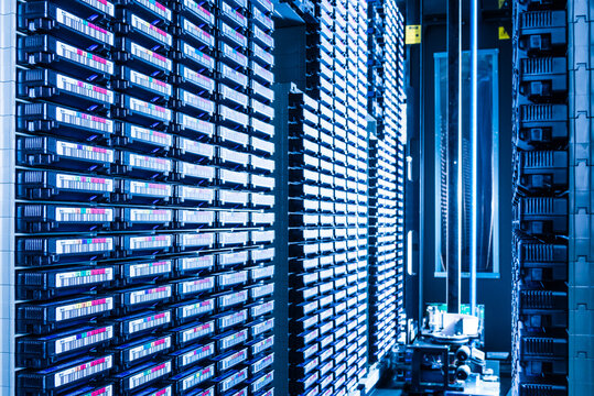 stacks of magnetic tapes used for data storage