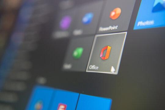 Bangkok, Thailand - October 17, 2020 : Microsoft Office logo on Microsoft Windows 10 computer.