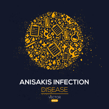 Creative (Anisakis Infection) disease Banner Word with Icons ,Vector illustration.