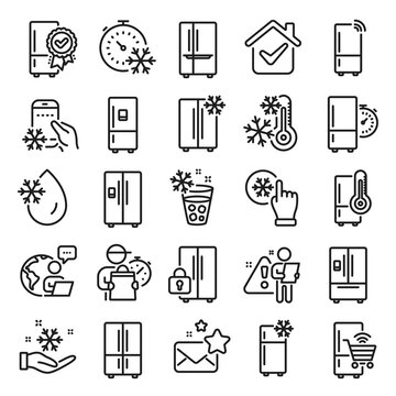 Fridge line icons. Refrigerator, freezer storage, smart fridge machine. Water with ice, cooler box, thermometer icons. Wi-fi remote access, thermostat timer, smart freezer. Line icon set. Vector