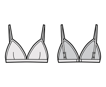 Triangle Bra lingerie technical fashion illustration with adjustable straps, hook-and-eye closure, sheer edge cups. Flat brassiere template front, back grey color style. Women men underwear CAD mockup