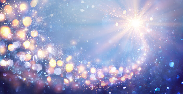 Magic Abstract Christmas Star In Shiny Sky - Defocused Lights - Contain Illustration