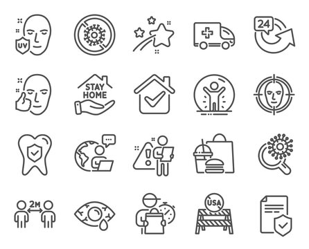 Medical icons set. Included icon as Coronavirus research, Social distancing, Face detect signs. Healthy face, Stop coronavirus, Usa close borders symbols. Stay home, Uv protection. Vector