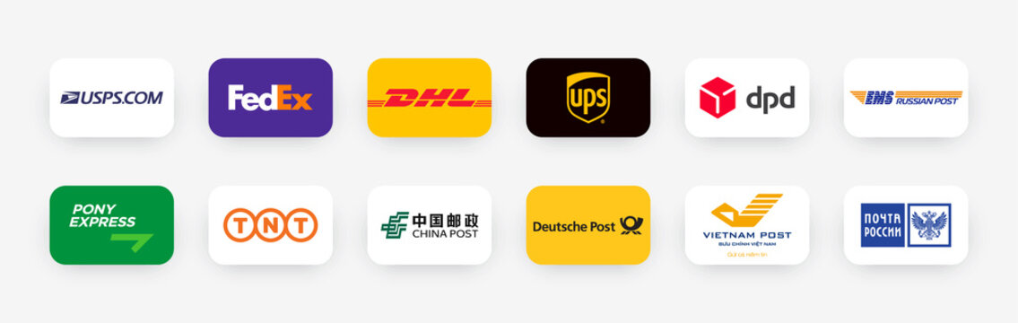 Buttons logos of international transport companies and Post offices: USPS, UPS, Fedex, DPD, Pony, DHL, EMS, TNT, China, Deutsche, Vietnam and Russia post. Vector illustration EPS10