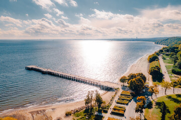 Pier in Gdynia Orlowie view from the drone