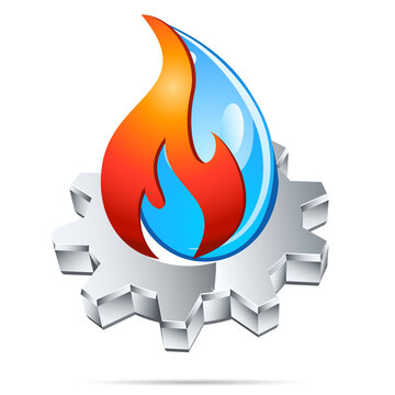 Sanitär, Gas, Wasser, Zahnrad - Firmenzeichen, Logo