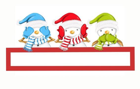 three snowmen - I don't see I don't hear I don't speak
