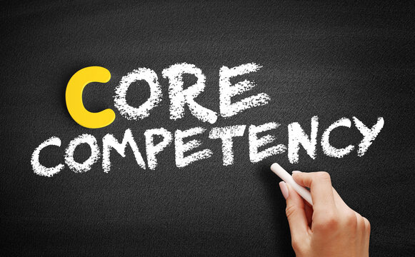 Core competency text on blackboard, concept background