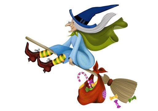Befana flying on her broom